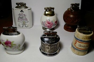 Lot of 6 Vintage Table Lighters!  All Working!