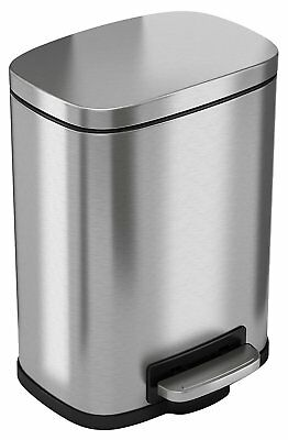 iTouchless Softstep 1.32 Gallon Stainless Steel Step Trash Can, 5 Liter Pedal