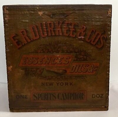 E.R. DURKEE & CO'S ESSENCES OILS SPIRITS of CAMPHOR WOOD BOX