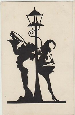 SILHOUETTE Drinkers MAN & LADY Glass Lamppost FANTASY German PC Breslau c1920s