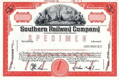 Southern Railway Company of Virginia SPECIMEN Stock Certificate
