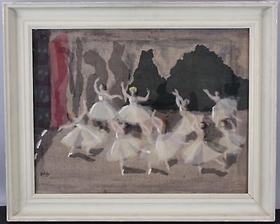 Vintage MABEL MAUGHAM BELDY Fabric Painting Collage Ballet Dance Balerinas