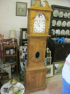 Stunning Antique Solid Pine Victorian Longcase With Latter Day Movement. Deliver