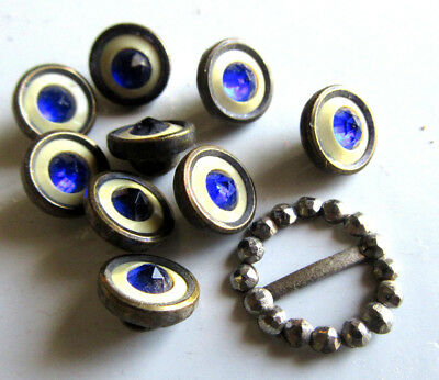 9 ANTIQUE Brass Sapphire Blue glass cobalt buttons Doll Steel cut Buckle lot