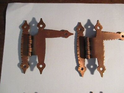 Lot of 8  Vintage Smooth Copper Cabinet Hinges