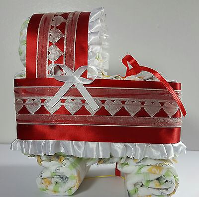 Diaper Cake Bassinet Carriage Baby Shower Neutral - Red and Ivory Hearts