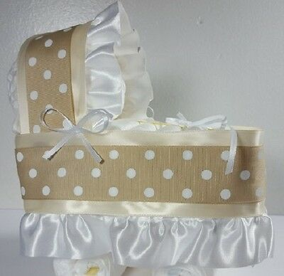 Diaper Cake Bassinet Carriage Baby Shower Gift for Girls - Cream with Tan/White