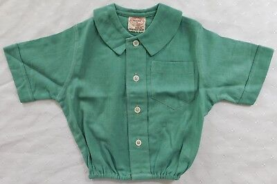 Aertex top baby clothes vintage 1930s short sleeve shirt green UNUSED 6 months