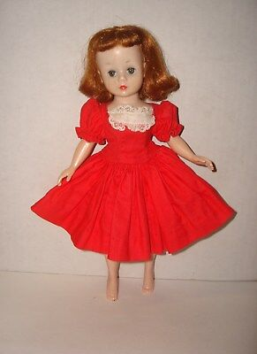 "Vtg 1950s 10"" Madame Alexander Cissette Doll Red Cotton Dress #913"