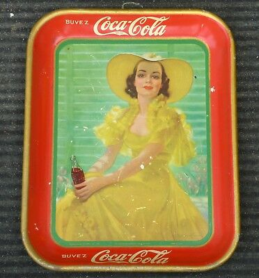 Rare original 1938 French Canadian Coca-Cola COKE serving tray FREE SHIPPING!