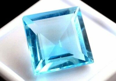 NATURAL PRINCESS-CUT SKY BLUE TOPAZ GEMSTONE LOOSE 9 x 9 mm. AMAZING BLUE TOPAZ