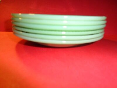 """Set Of 6 Vintage Jadeite Saucers Fire King 5.75"""" Ribbed Jane Ray Green No Cups"""