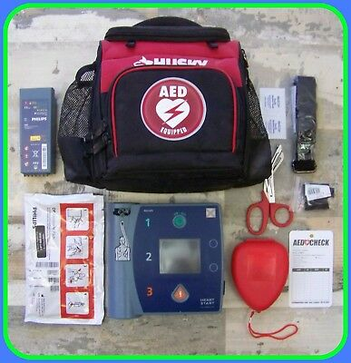 PHILIPS With ECG M3860A HeartStart FR2+ Good BATTERY 22 & PADS AED Defibrillator