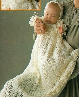 Vintage Baby Crochet Pattern Copy Christening Gown Bonnet lacy design in 4 Ply