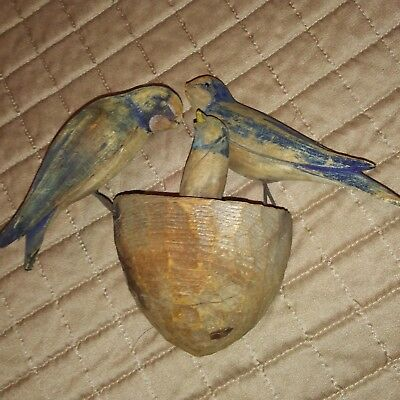 Arts And Crafts Hand Carved Wooden Birds Feeding Baby In Nest