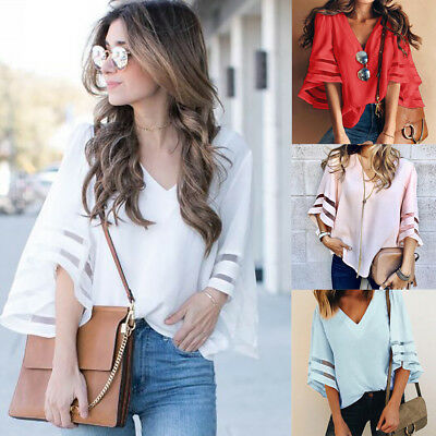 Fashion Ladies Casual Tops T-Shirt Women Summer Loose Top Long Sleeve Blouse NEW