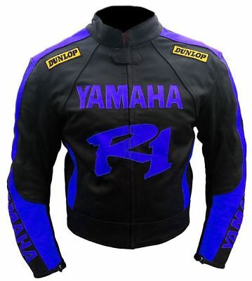 Men's Replica Yamaha R1 Motorbike leather jacket protections motorcycle ride