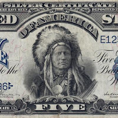 Gorgeous $5 Indian Chief OnePapa 1899 Five Dollar Silver Certificate FR275 3632C
