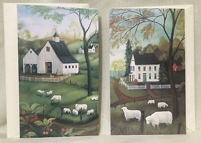 *2* Primitive Folk Art Elizabeth Gilkey Card House Church Sheep Lamb Hay Barn