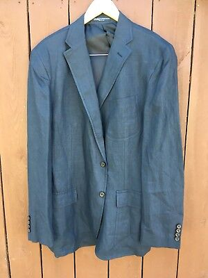 POLO RALPH LAUREN Dark Navy Flax Mens Blazer Sport Coat Jacket 44R Nice!