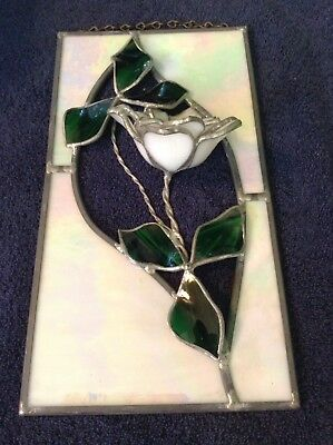 Beautiful Iridescent Leaded Glass 3D Rose Flower Stained Glass Suncatcher~Estate