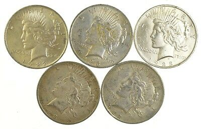 Lot of 5 1922 or 1923 Peace Silver Dollars - 90% Silver - Coin Collection *784