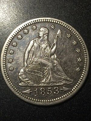 1853 Seated Liberty Quarter Dollar, Silver 25c, Arrows and Rays.