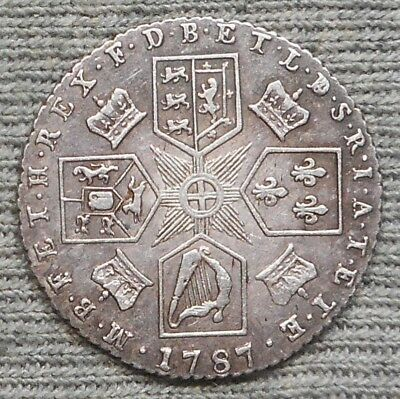 Nice 1787 UK(Great Britain) 6 Pence Silver Coin - KM# 606.1