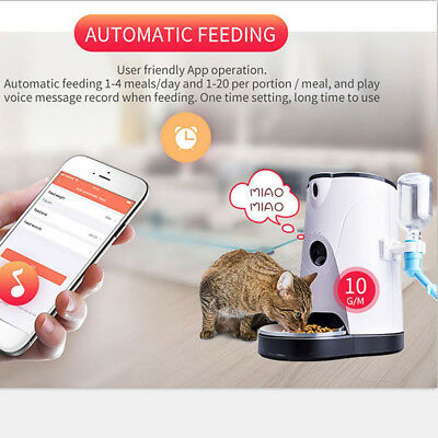 Pet Food and Water Dispenser with Real-Time HD Night Vision Camera