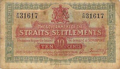 GOVERNMENT OF THE STRAITS SETTLEMENTS 10 CENTS NOTE 1919 P-8b SCARCE