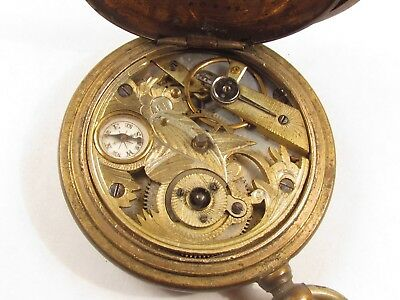 Antique Ornate Key Wind Cylinder Escapement Pocket Watch Swiss with Compass