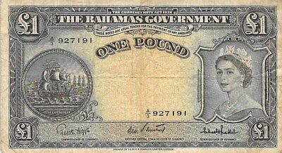BAHAMAS GOVERNMENT 1 POUND NOTE 1953 P-15c
