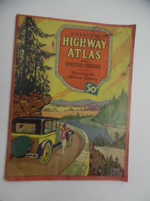 1928 Gallup's Highway Atlas of the United States Midwest Territory Maps Vintage