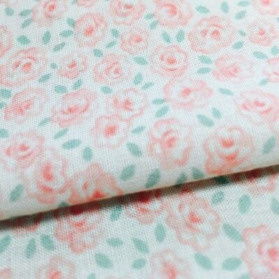 Pink Roses Floral Calico Fabric Light Pink Background by Textile Arts and Film