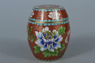 M3571: Chinese Copper Shippo Flower inlay TEA CADDY Chaire Tea Ceremony