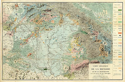 1822 Geological Map Hungary and Transylvania Wall School Poster Vintage Mining