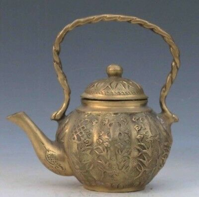 Collectible Decorated Chinese Brass Handwork Carved Flowers teapot d02