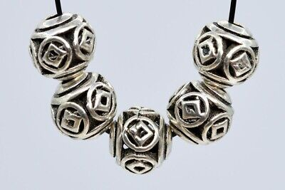 10 Pcs 8MM Antique Silver Tone Ancient Chinese Coin Round Spacer Beads