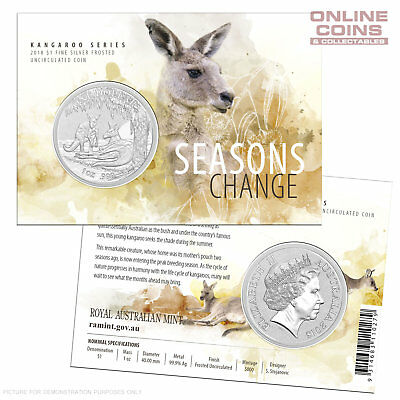 2018 RAM  $1 Silver Frosted Unc Coin - Kangaroo Series - Seasons Change - SUMMER