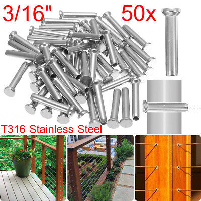 """US 50X T316 Stainless Steel Stud Swage Thread Tensioner for 3/16"""" Cable Railing"""