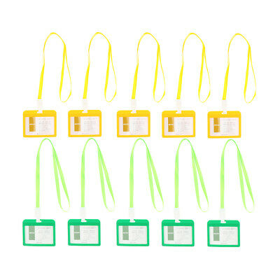 10pc Badge Holders Open Double Sided Pick Card ID Card Pouches -Green&Yellow