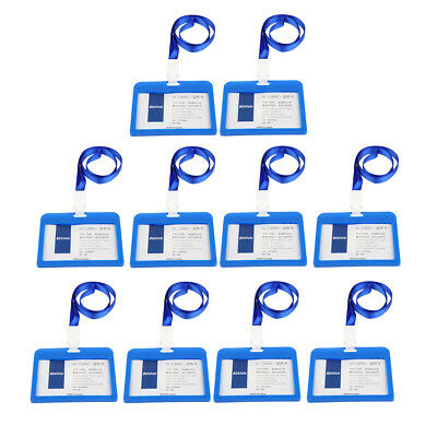 10x Acrylic Badge Holders Open Double Sided Pick Card ID Card Pouches -Blue