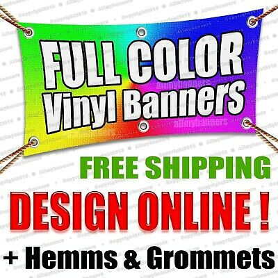 8x3 Printed Full Color Custom Banner Sign * Sale Price * +grommets +hems AMBSP