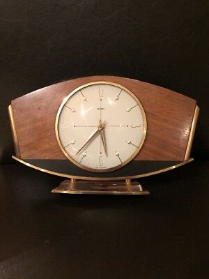 Retro Vintage 60's Quartz Metamec Mantle Clock Brass/Bronze Wood - Not Working