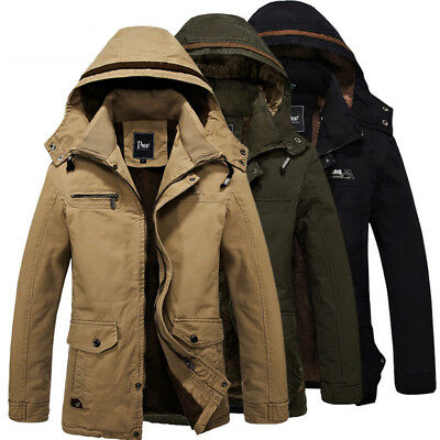 Mens Winter Military Hooded Jacket Parka Warm Fur Lined Long Coat Outerwear