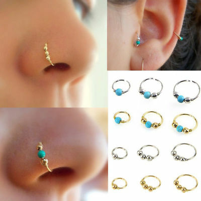 1x Turquoise Bead Nostril Hoop Nose Ring Piercing Stainless Steel Tragus Earring