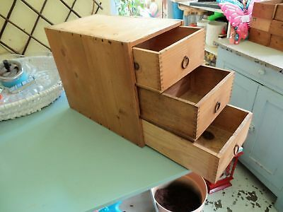 Antique vintage watchmakers tool chest, collectors drawers cabinet, wooden box