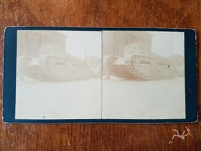 WW1 real photo stereoview  british tank liverpool streets  - police strike 1919