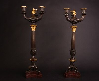 Pair of French Louis Phillippe Bronze Candelabra 19th Century