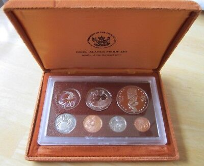 1975 Cook Islands Proof Set, 7 coin set in original box with paperwork